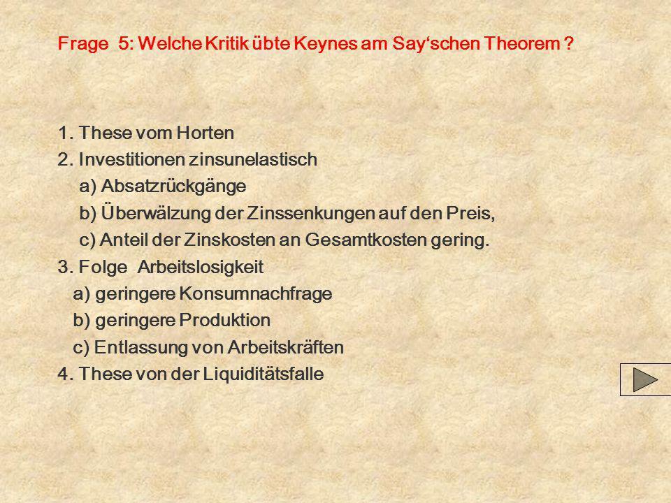 Frage 5: Welche Kritik übte Keynes am Say'schen Theorem