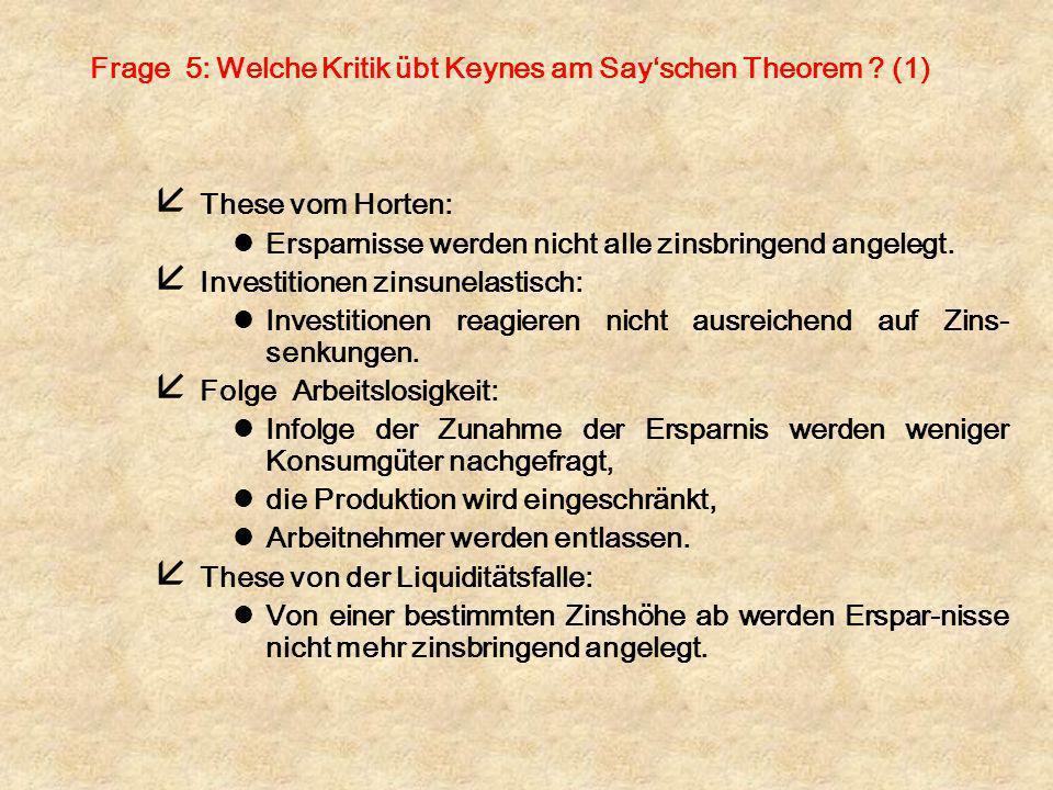 Frage 5: Welche Kritik übt Keynes am Say'schen Theorem (1)