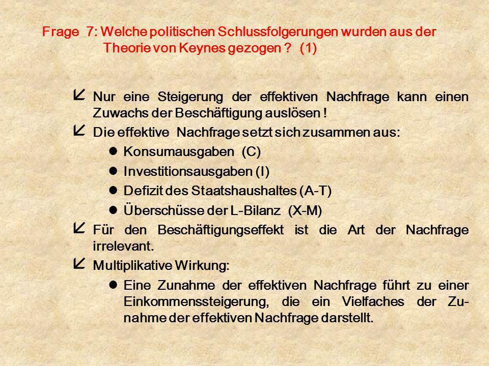 Frage 7: Welche politischen Schlussfolgerungen wurden aus der Theorie von Keynes gezogen (1)