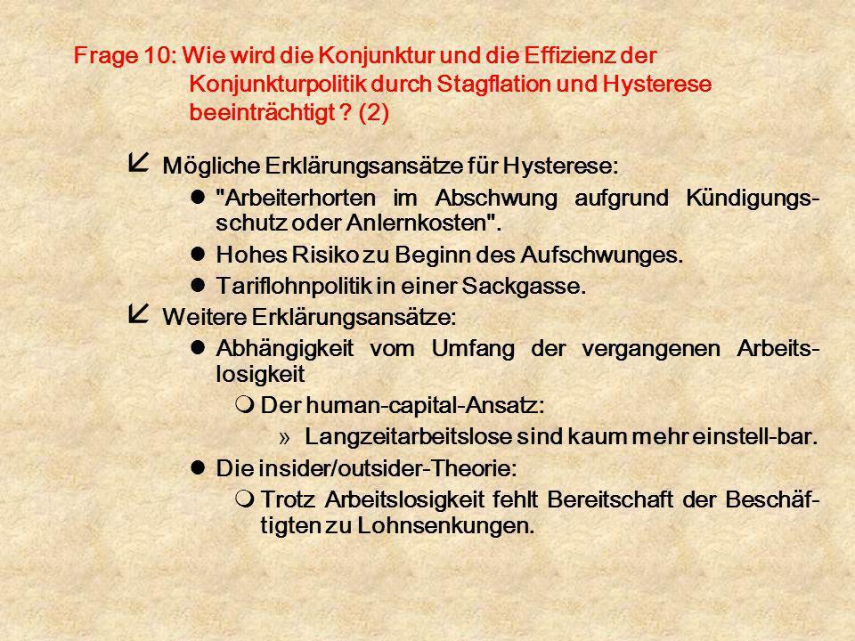Frage 10: Wie wird die Konjunktur und die Effizienz der Konjunkturpolitik durch Stagflation und Hysterese beeinträchtigt (2)