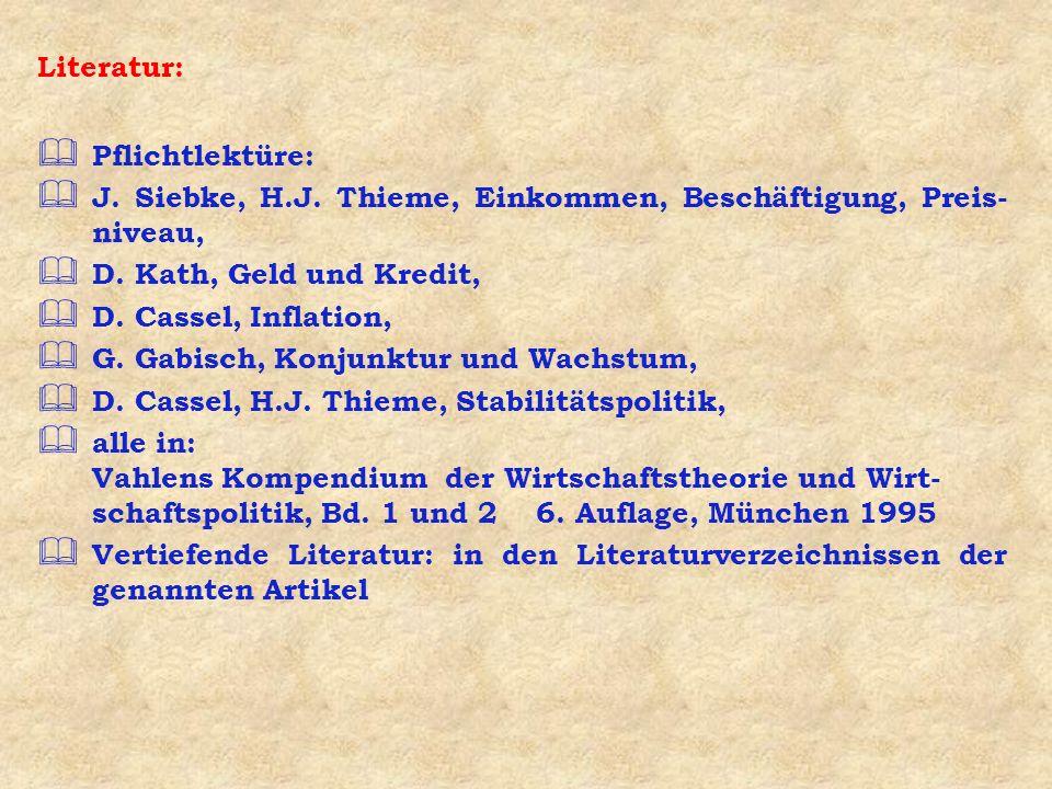 Literatur: Pflichtlektüre: J. Siebke, H.J. Thieme, Einkommen, Beschäftigung, Preis-niveau, D. Kath, Geld und Kredit,