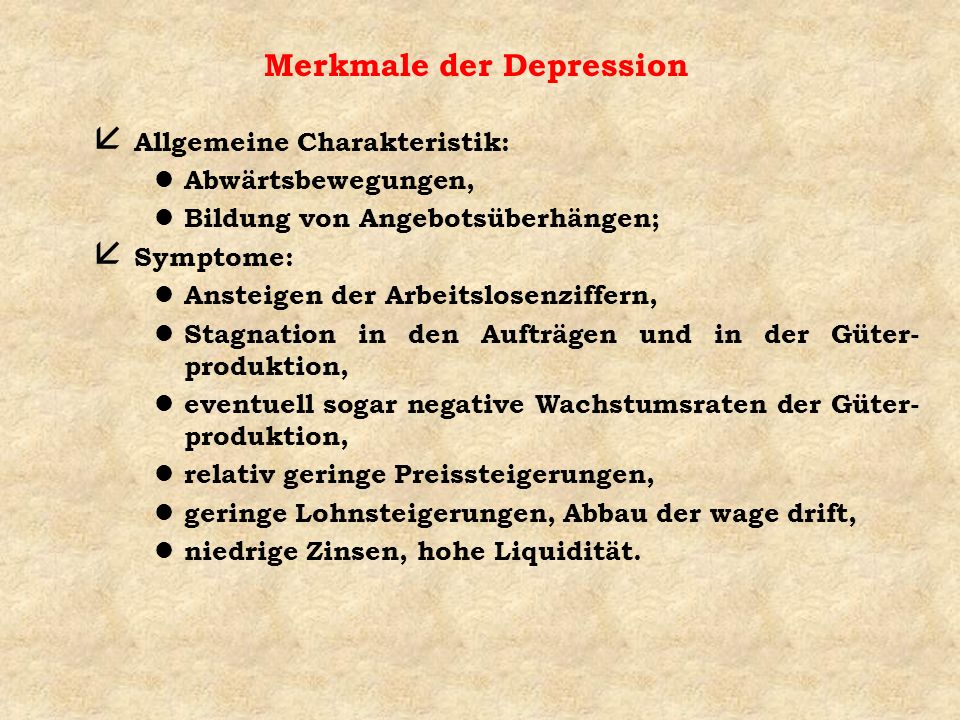 Merkmale der Depression