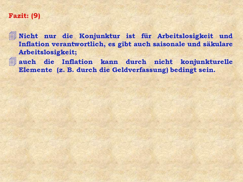 Fazit: (9) Nicht nur die Konjunktur ist für Arbeitslosigkeit und Inflation verantwortlich, es gibt auch saisonale und säkulare Arbeitslosigkeit;