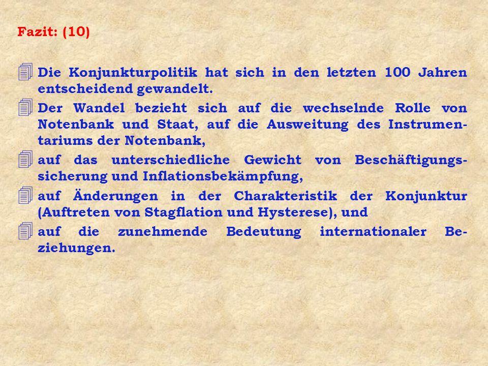Fazit: (10) Die Konjunkturpolitik hat sich in den letzten 100 Jahren entscheidend gewandelt.