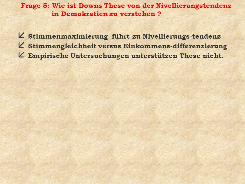 Frage 5: Wie ist Downs These von der Nivellierungstendenz in Demokratien zu verstehen