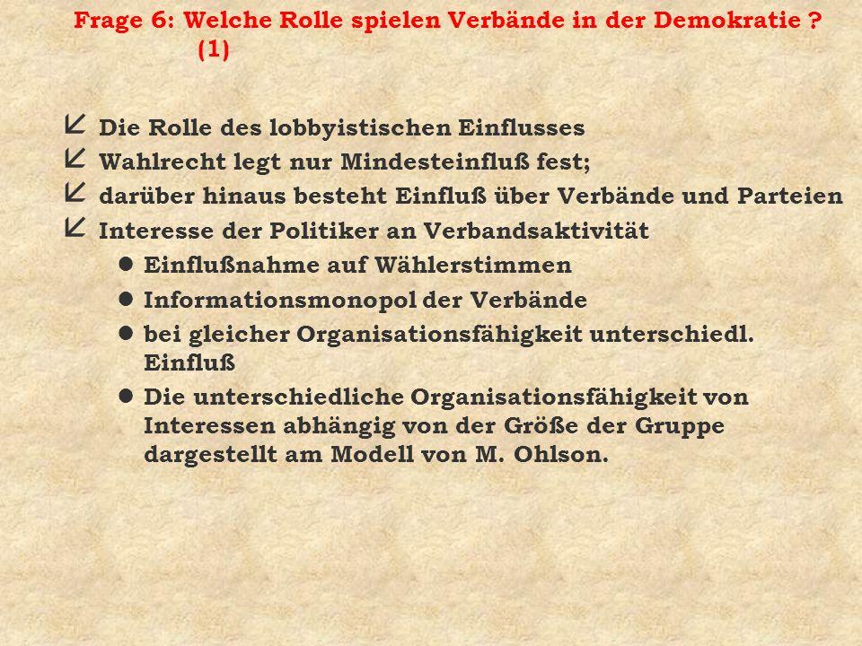 Frage 6: Welche Rolle spielen Verbände in der Demokratie (1)