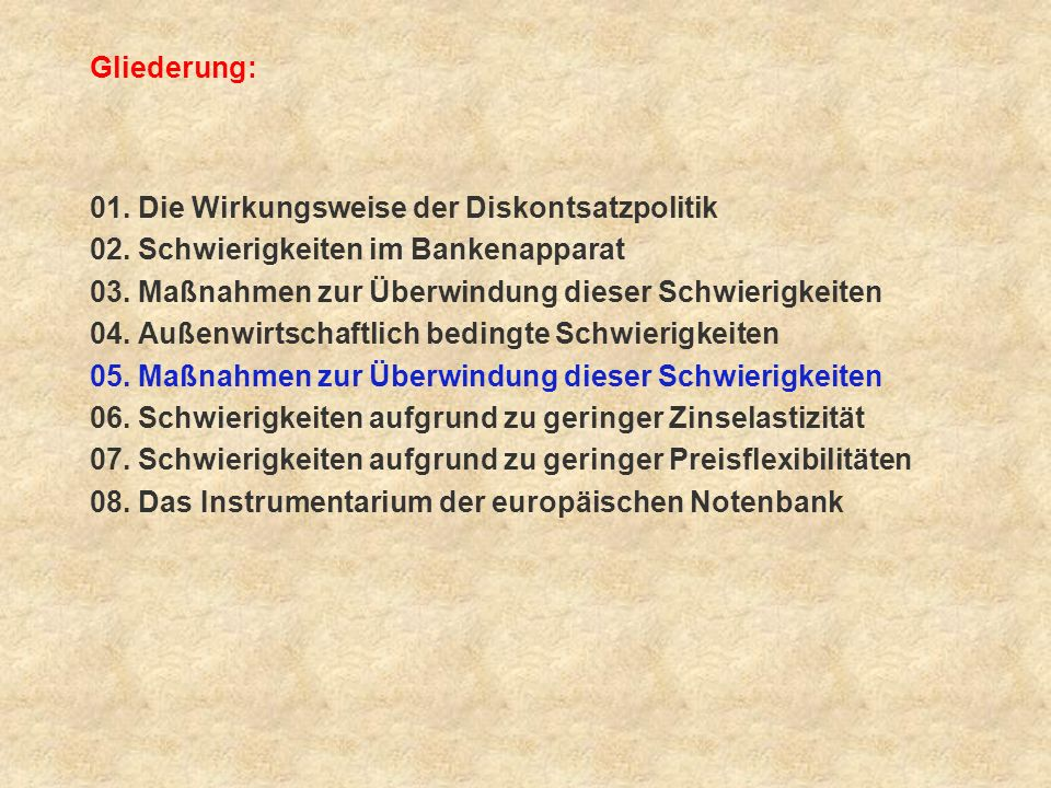 Gliederung: 01. Die Wirkungsweise der Diskontsatzpolitik. 02. Schwierigkeiten im Bankenapparat.