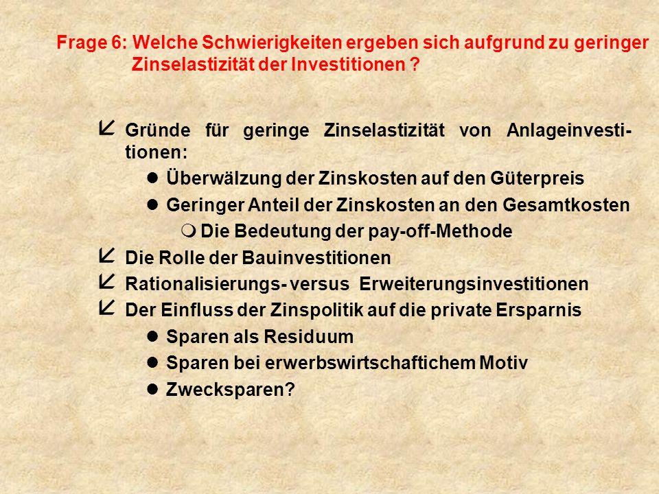 Frage 6: Welche Schwierigkeiten ergeben sich aufgrund zu geringer Zinselastizität der Investitionen
