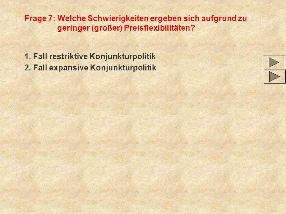 Frage 7: Welche Schwierigkeiten ergeben sich aufgrund zu geringer (großer) Preisflexibilitäten