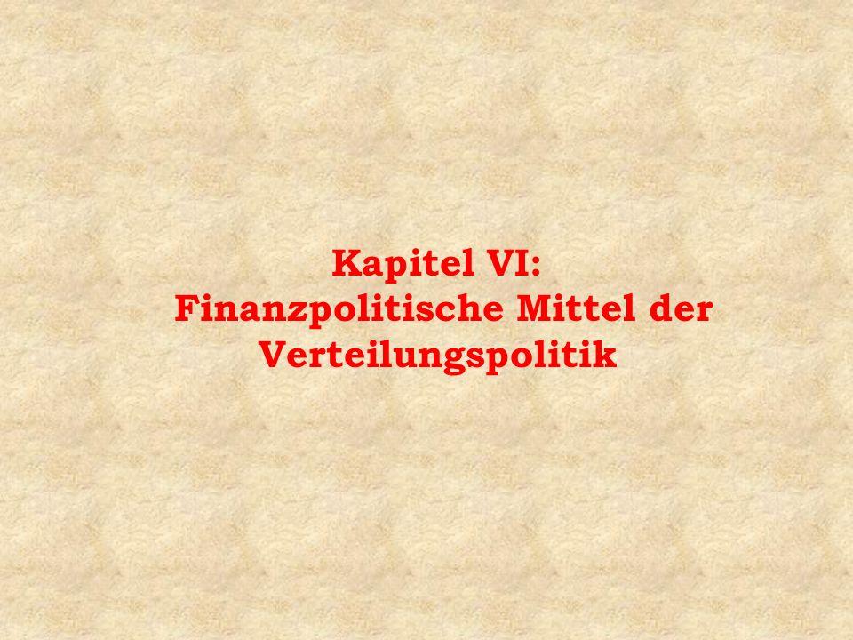 Kapitel VI: Finanzpolitische Mittel der Verteilungspolitik