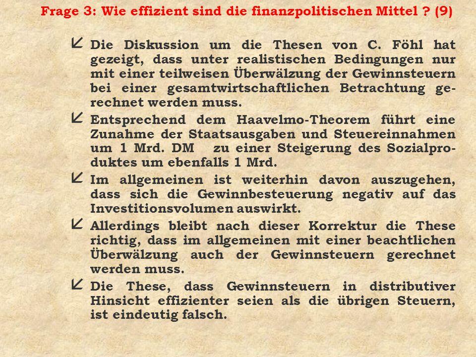 Frage 3: Wie effizient sind die finanzpolitischen Mittel (9)