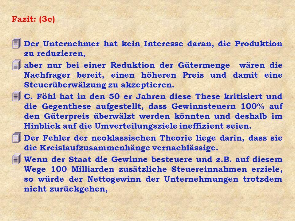Fazit: (3c) Der Unternehmer hat kein Interesse daran, die Produktion zu reduzieren,
