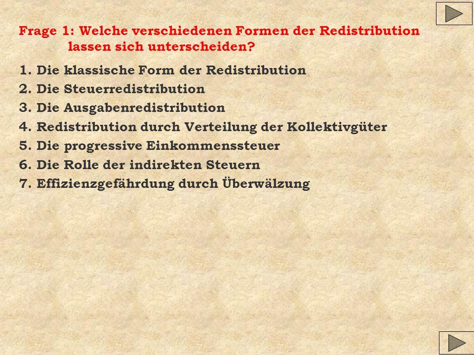 Frage 1: Welche verschiedenen Formen der Redistribution lassen sich unterscheiden