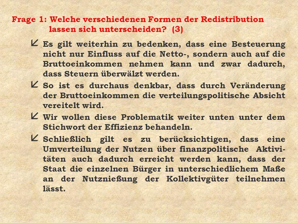 Frage 1: Welche verschiedenen Formen der Redistribution lassen sich unterscheiden (3)