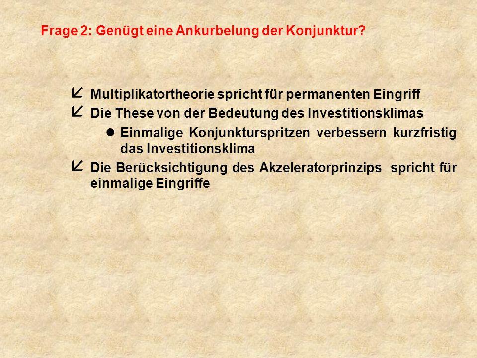 Frage 2: Genügt eine Ankurbelung der Konjunktur