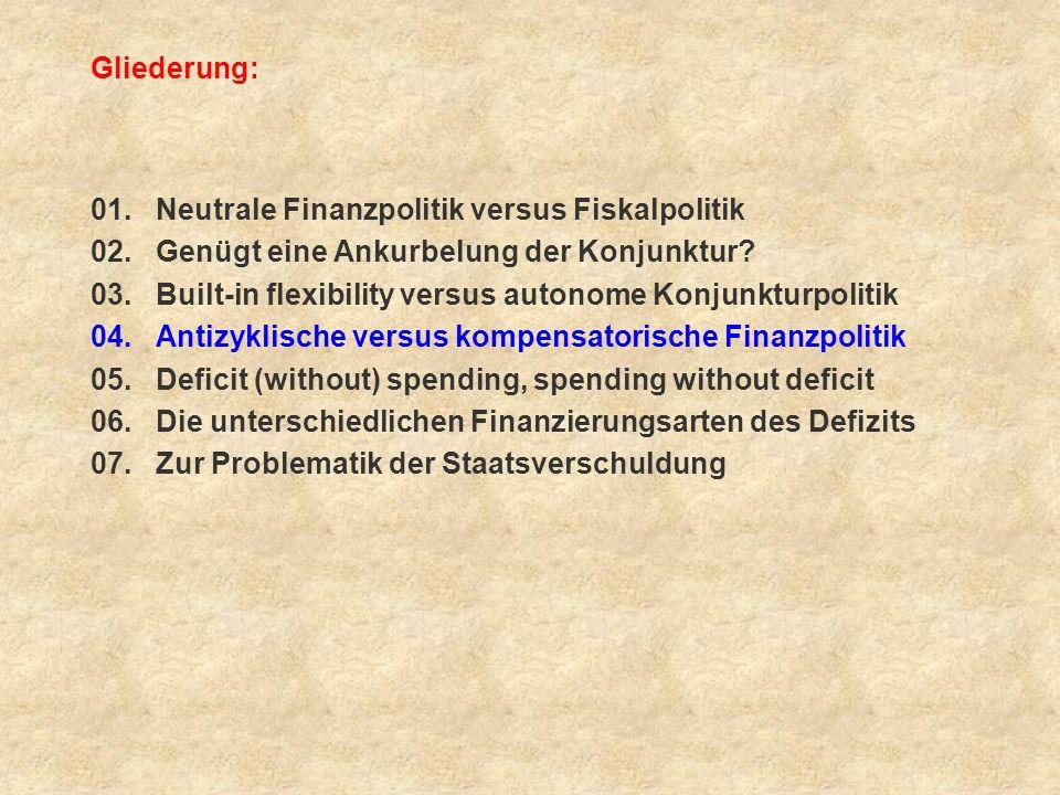 Gliederung: 01. Neutrale Finanzpolitik versus Fiskalpolitik. 02. Genügt eine Ankurbelung der Konjunktur