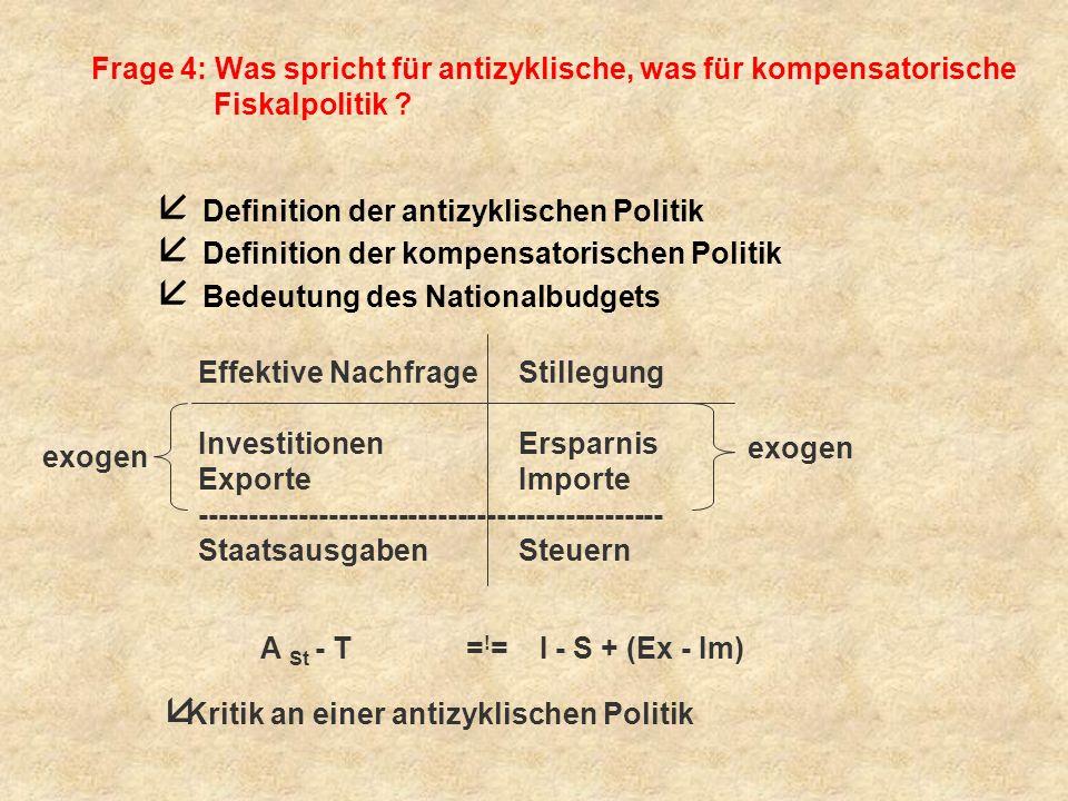 Frage 4: Was spricht für antizyklische, was für kompensatorische Fiskalpolitik
