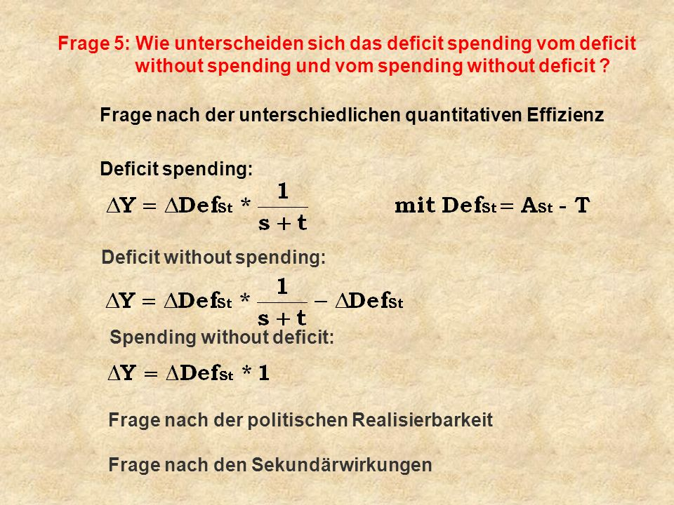 Frage 5: Wie unterscheiden sich das deficit spending vom deficit without spending und vom spending without deficit