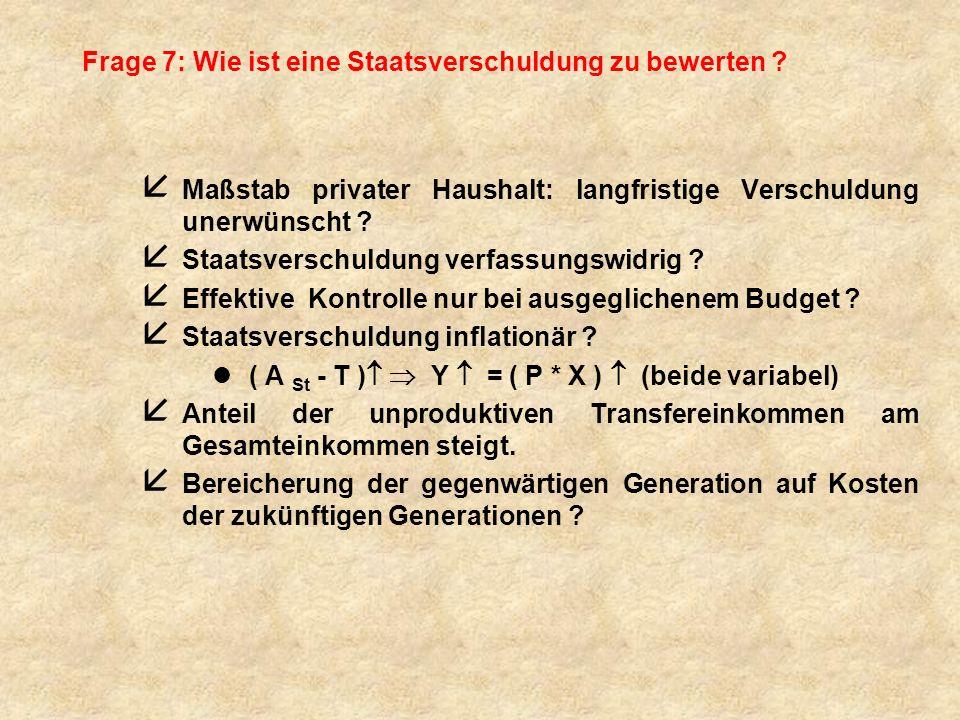 Frage 7: Wie ist eine Staatsverschuldung zu bewerten