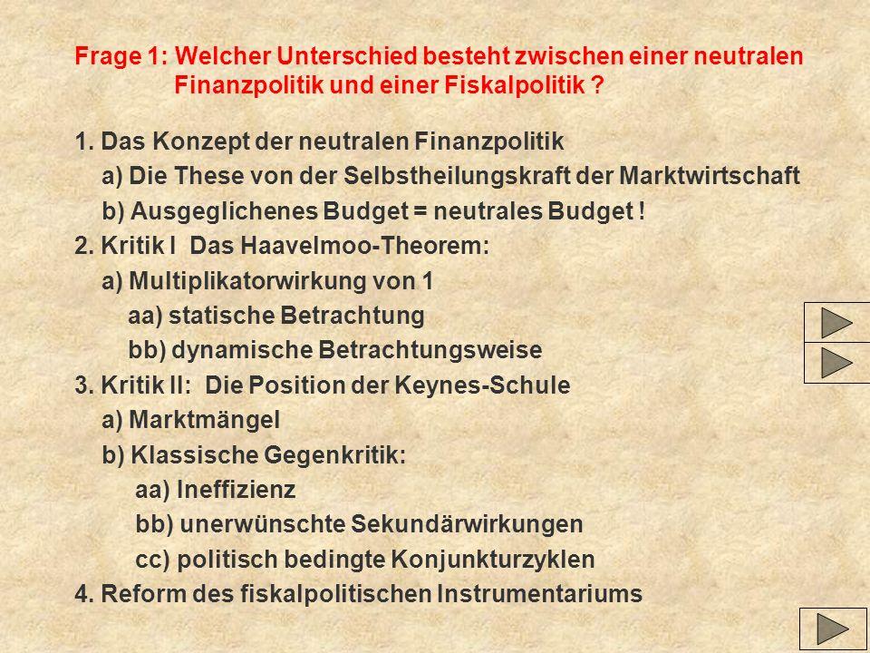 Frage 1: Welcher Unterschied besteht zwischen einer neutralen Finanzpolitik und einer Fiskalpolitik