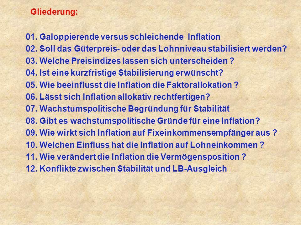 Gliederung: 01. Galoppierende versus schleichende Inflation. 02. Soll das Güterpreis- oder das Lohnniveau stabilisiert werden