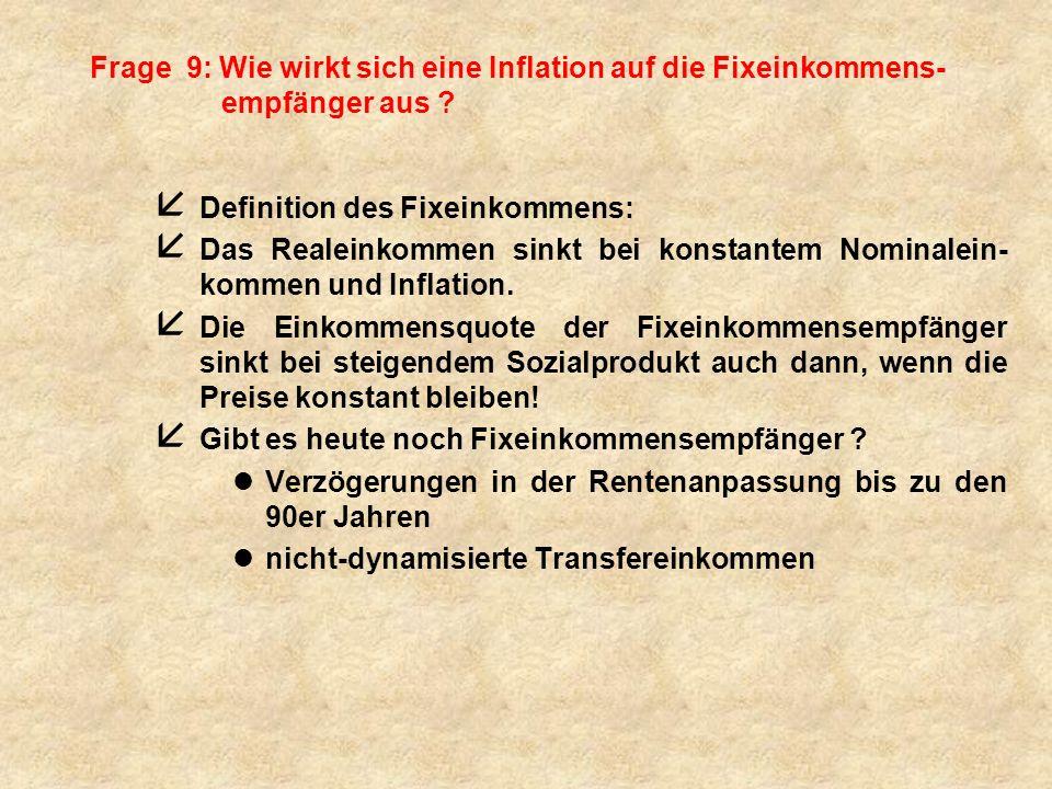 Frage 9: Wie wirkt sich eine Inflation auf die Fixeinkommens-empfänger aus