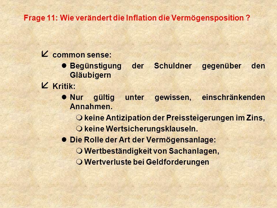 Frage 11: Wie verändert die Inflation die Vermögensposition
