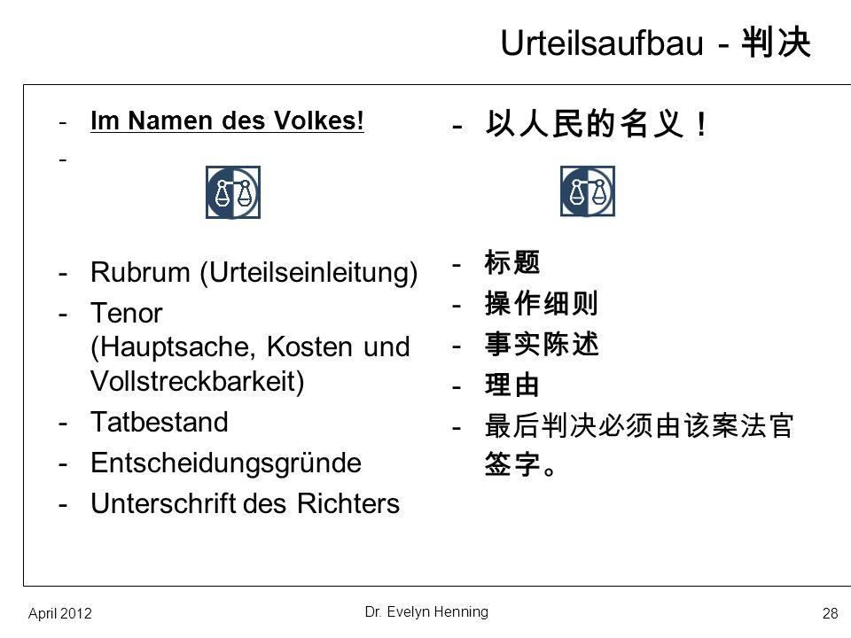 Urteilsaufbau - 判决 以人民的名义! 标题 Rubrum (Urteilseinleitung) 操作细则
