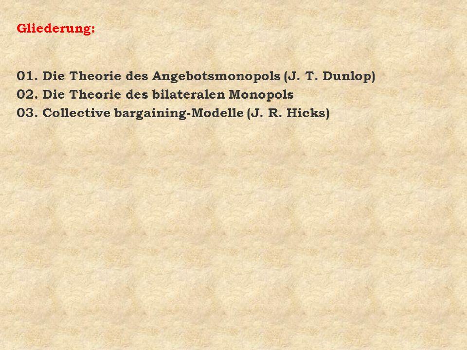 Gliederung: 01. Die Theorie des Angebotsmonopols (J. T. Dunlop) 02. Die Theorie des bilateralen Monopols.