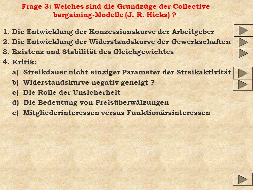 Frage 3: Welches sind die Grundzüge der Collective bargaining-Modelle (J. R. Hicks)