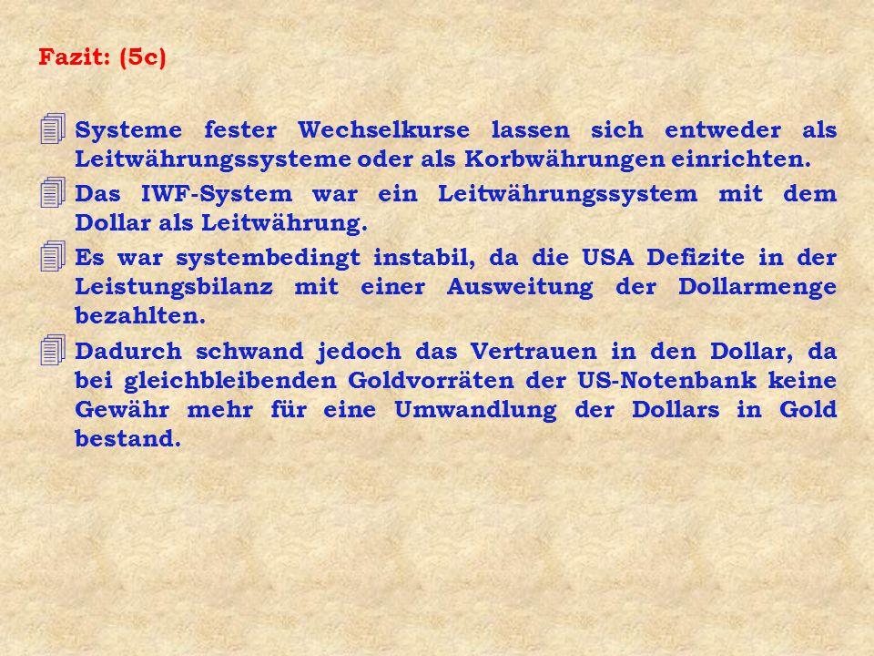Fazit: (5c) Systeme fester Wechselkurse lassen sich entweder als Leitwährungssysteme oder als Korbwährungen einrichten.