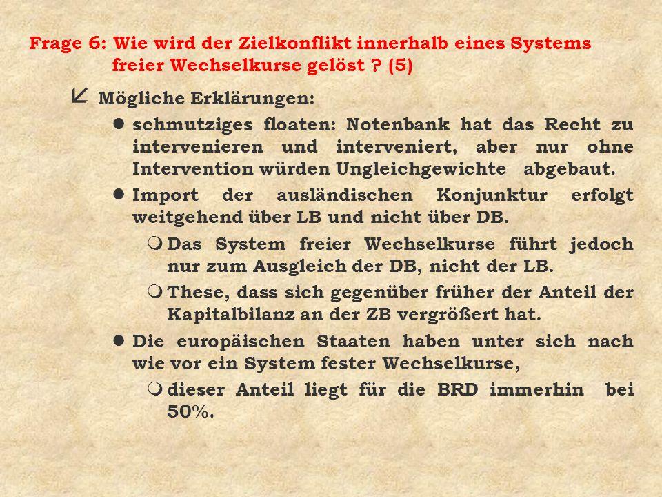 Frage 6: Wie wird der Zielkonflikt innerhalb eines Systems freier Wechselkurse gelöst (5)