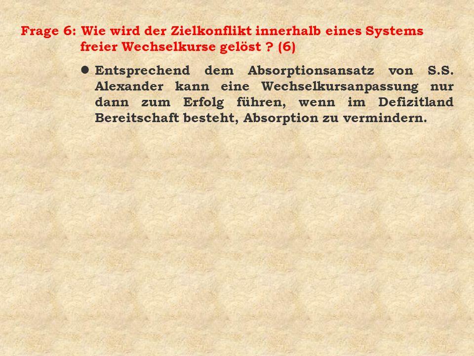 Frage 6: Wie wird der Zielkonflikt innerhalb eines Systems freier Wechselkurse gelöst (6)