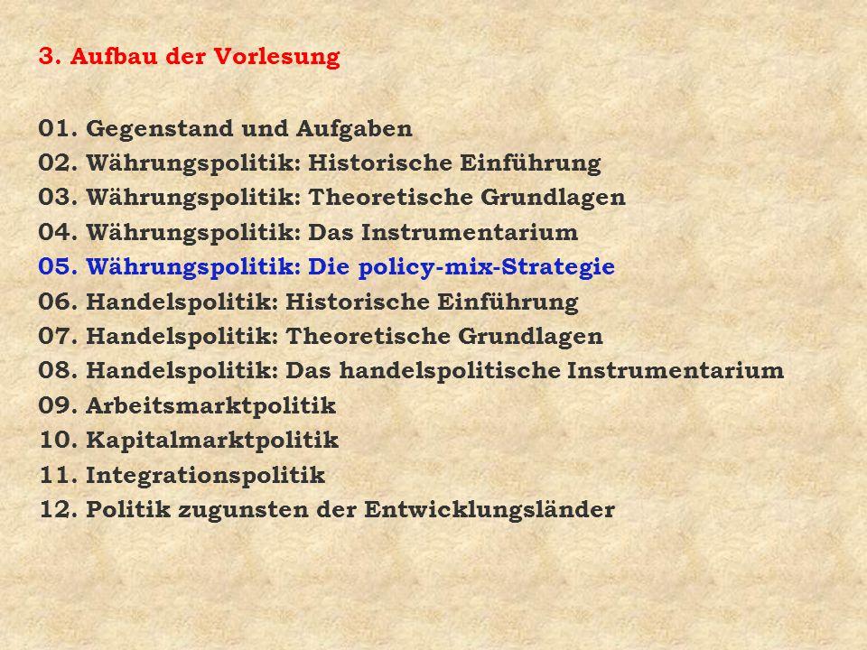 3. Aufbau der Vorlesung01. Gegenstand und Aufgaben. 02. Währungspolitik: Historische Einführung. 03. Währungspolitik: Theoretische Grundlagen.