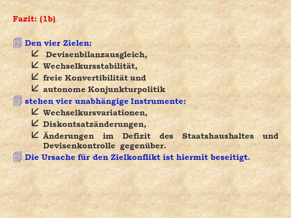 Fazit: (1b) Den vier Zielen: Devisenbilanzausgleich, Wechselkursstabilität, freie Konvertibilität und.