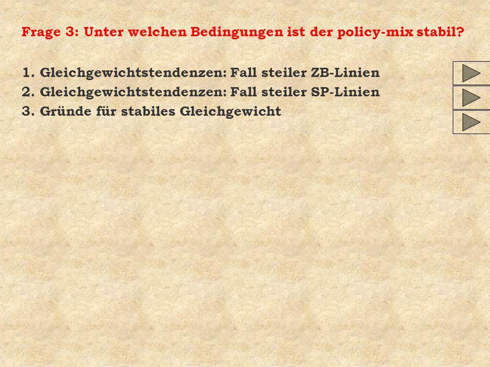 Frage 3: Unter welchen Bedingungen ist der policy-mix stabil