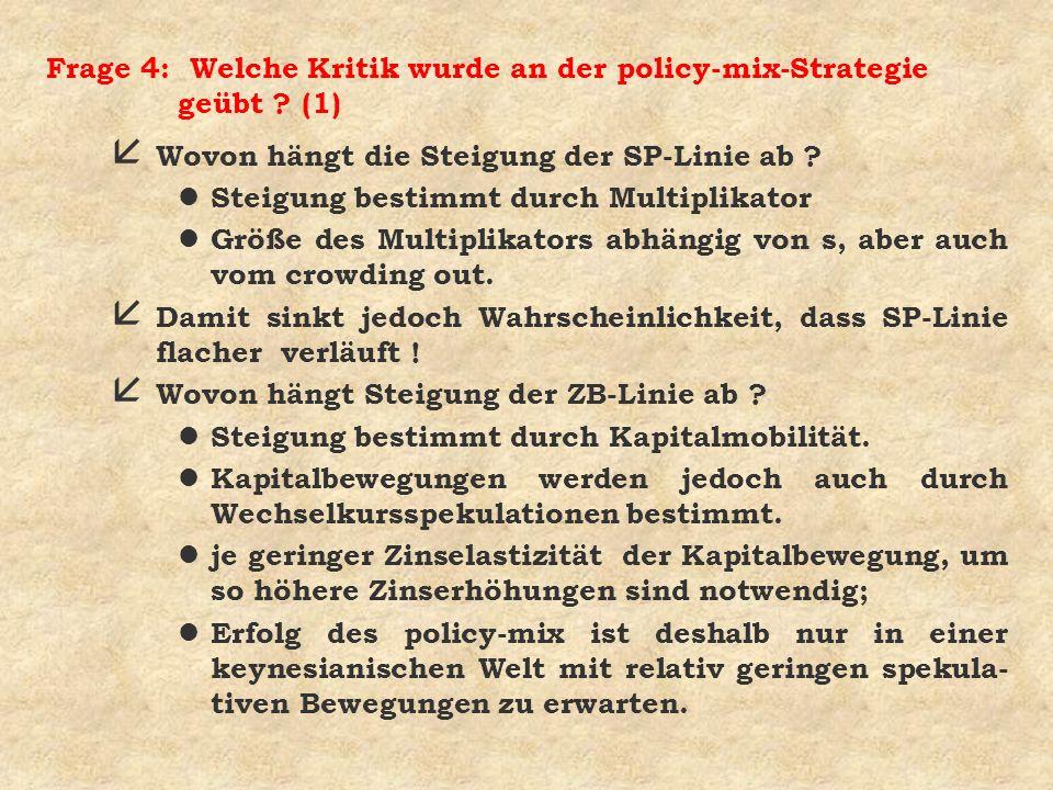 Frage 4: Welche Kritik wurde an der policy-mix-Strategie geübt (1)