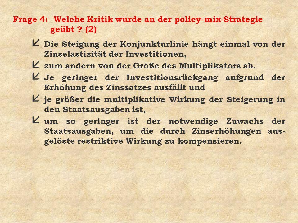 Frage 4: Welche Kritik wurde an der policy-mix-Strategie geübt (2)