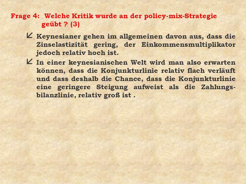 Frage 4: Welche Kritik wurde an der policy-mix-Strategie geübt (3)