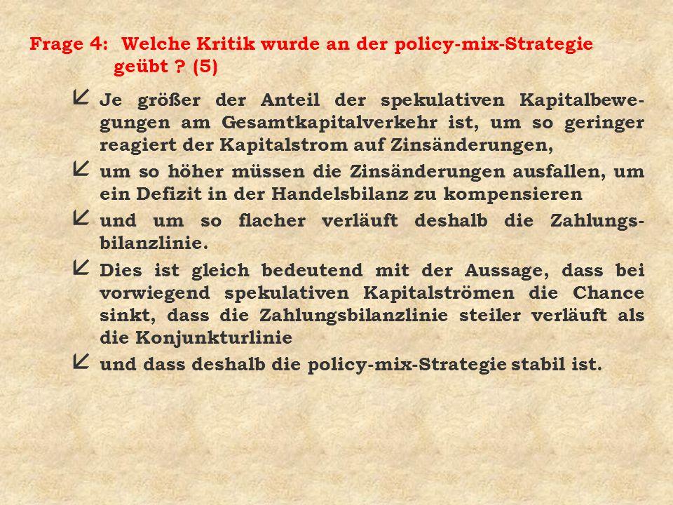 Frage 4: Welche Kritik wurde an der policy-mix-Strategie geübt (5)