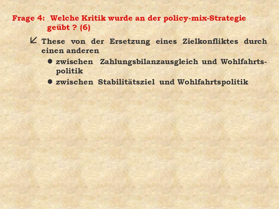 Frage 4: Welche Kritik wurde an der policy-mix-Strategie geübt (6)