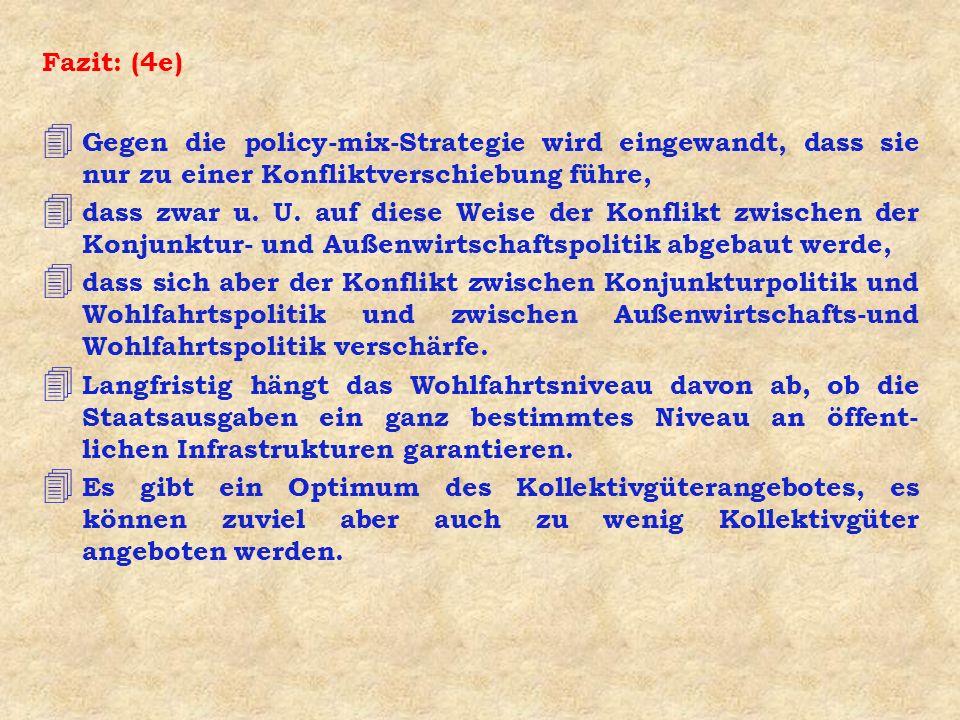 Fazit: (4e) Gegen die policy-mix-Strategie wird eingewandt, dass sie nur zu einer Konfliktverschiebung führe,