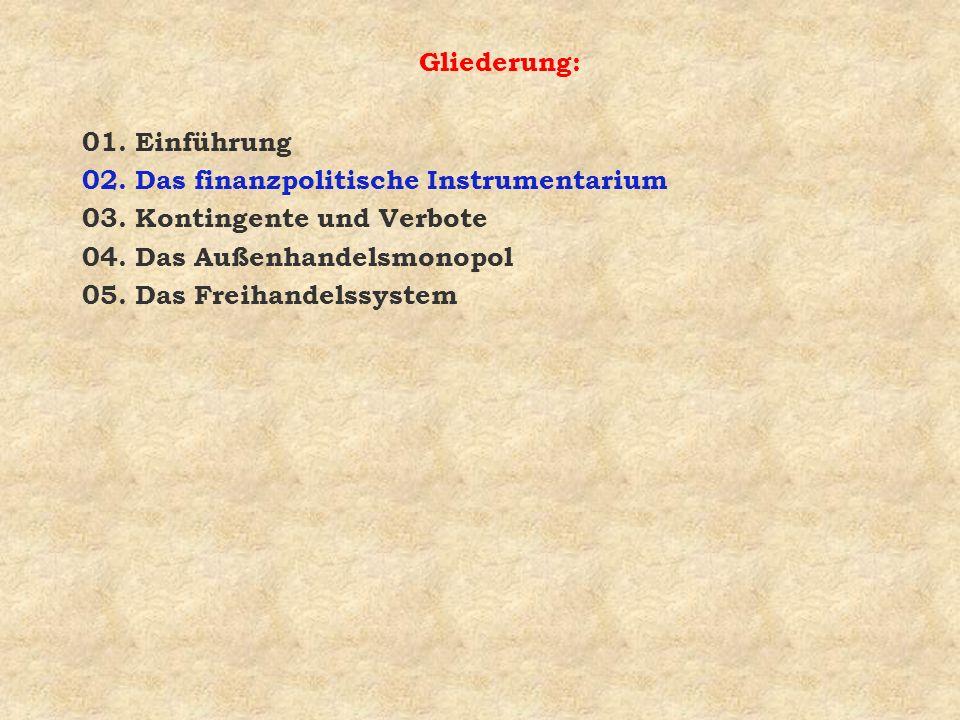 Gliederung: 01. Einführung. 02. Das finanzpolitische Instrumentarium. 03. Kontingente und Verbote.