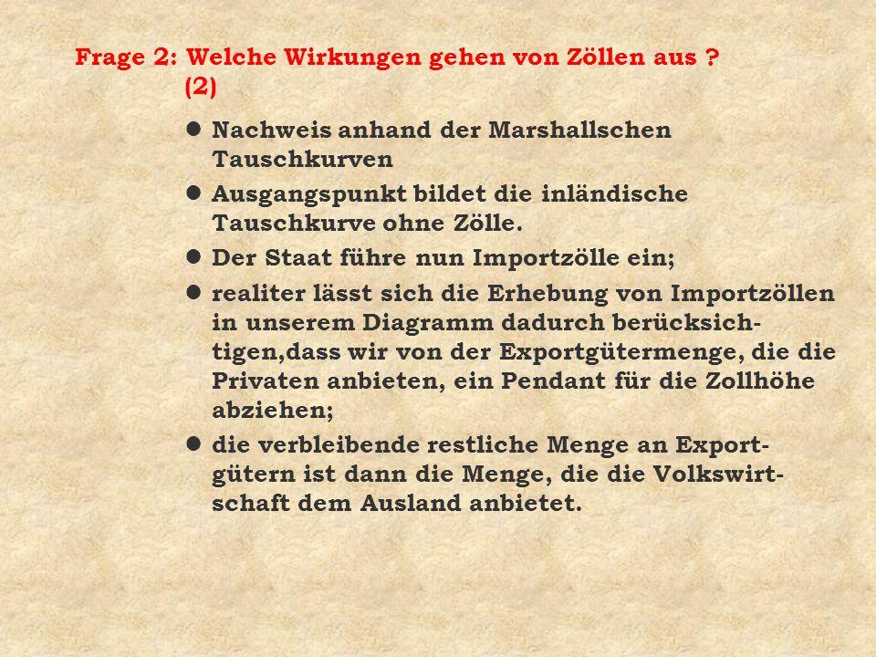 Frage 2: Welche Wirkungen gehen von Zöllen aus (2)