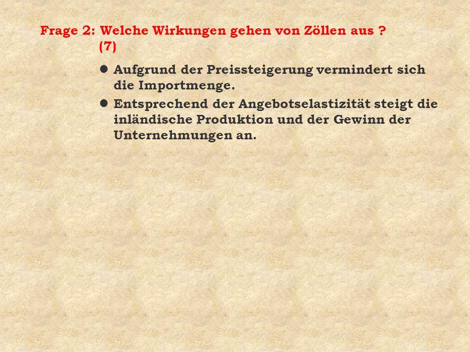Frage 2: Welche Wirkungen gehen von Zöllen aus (7)