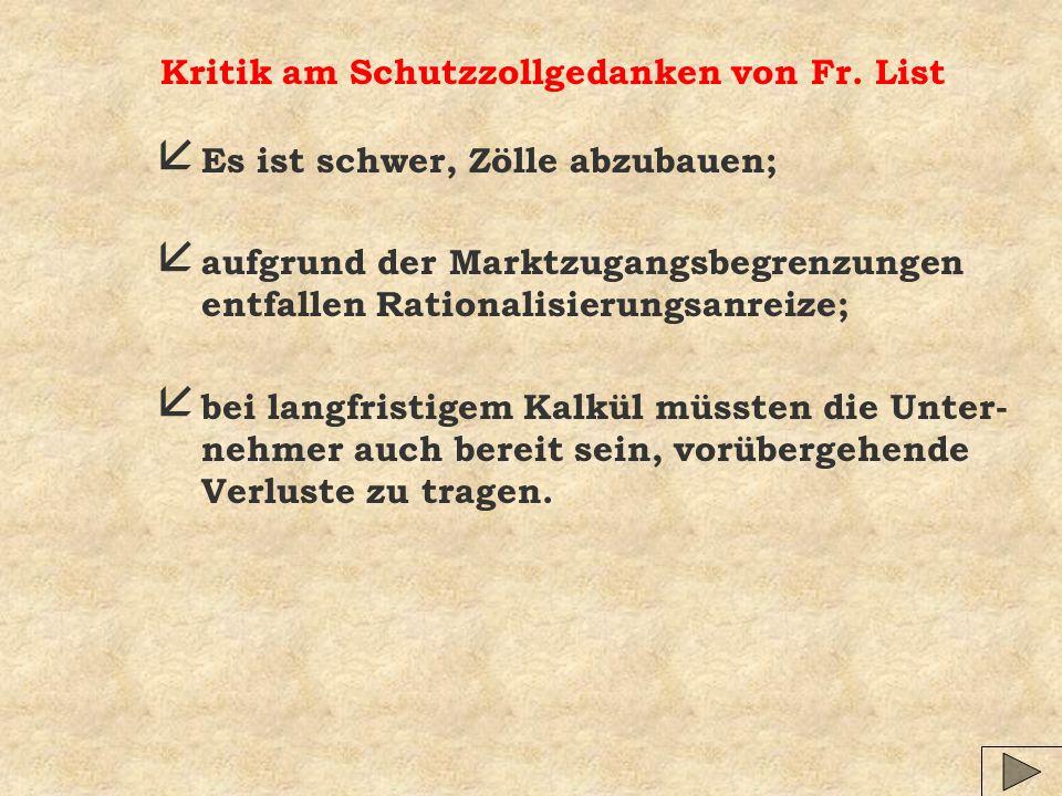 Kritik am Schutzzollgedanken von Fr. List