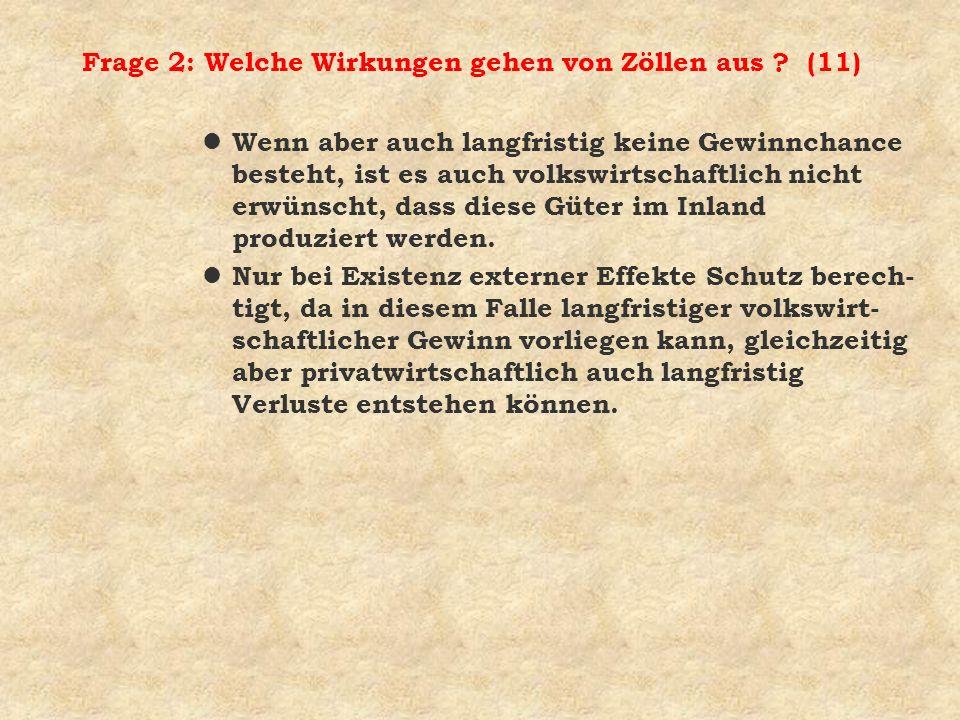 Frage 2: Welche Wirkungen gehen von Zöllen aus (11)