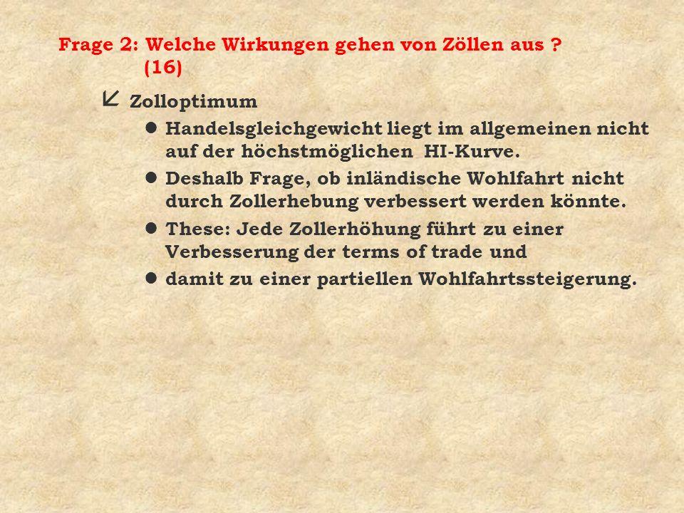 Frage 2: Welche Wirkungen gehen von Zöllen aus (16)