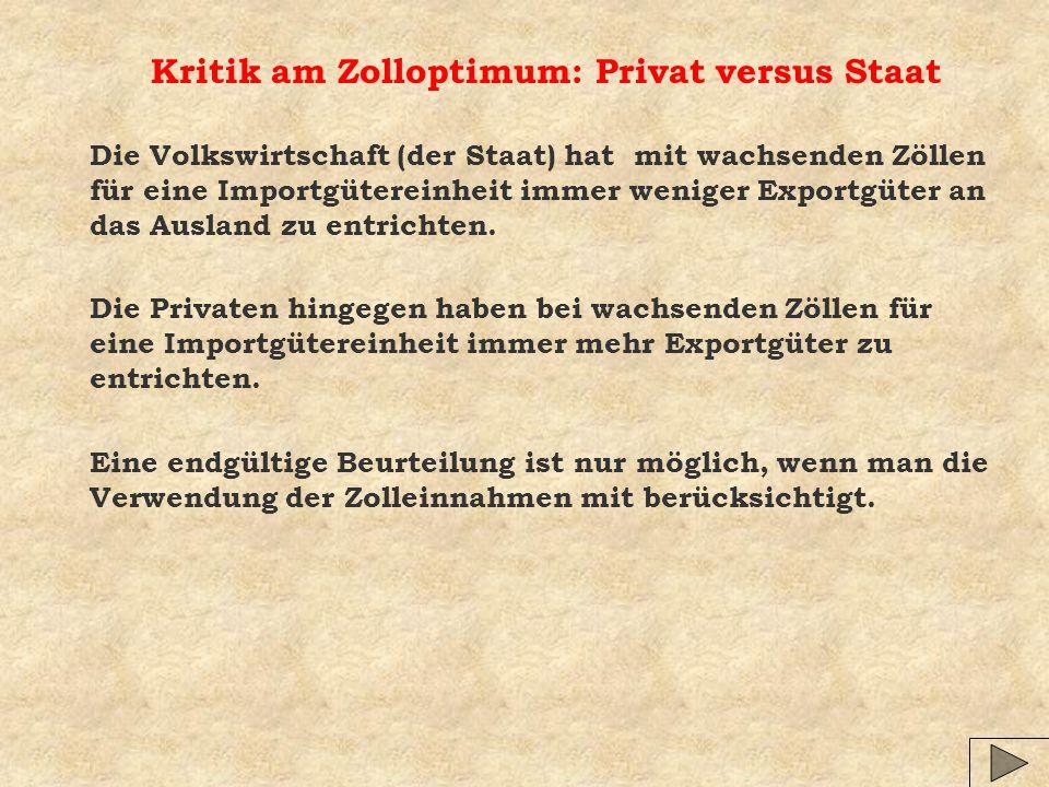 Kritik am Zolloptimum: Privat versus Staat