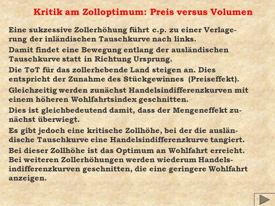 Kritik am Zolloptimum: Preis versus Volumen